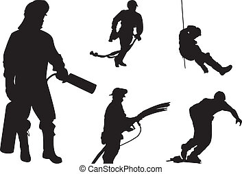 Fireman silhouette - Five Fireman silhouette in action