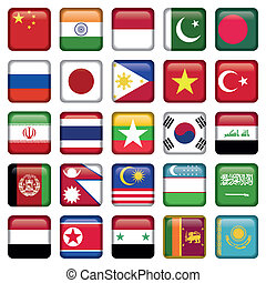 Asia Flags Square Icons, Zip includes 300 dpi JPG,...