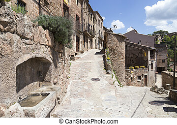 Typical street in Mura, Catalonia, Spain.