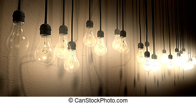 Light Bulb Hanging Wall Arrangement Perspective - A front...