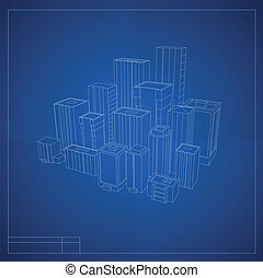 City plan with buildings sketches - City plan of downtown...