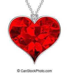 Heart pendant on white background. - Heart pendant on white...
