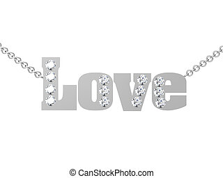 Love pendant on white background