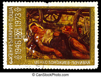 "BULGARIA - CIRCA 1973: A Stamp printed in BULGARIA, shows artist Tsenko Boyadzhiev , painting ""holiday"", woman sleeps with open chest, circa 1973"
