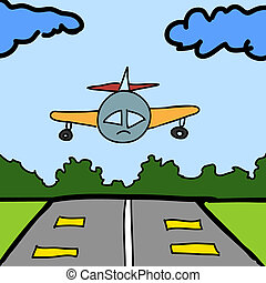 Plane and runway cartoon background vector