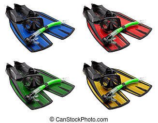 Set of multicolored mask, snorkel and flippers on white...