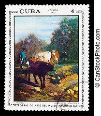Cuba, -, circa, 1973:, selo, impresso, Cuba, mostra, C,...
