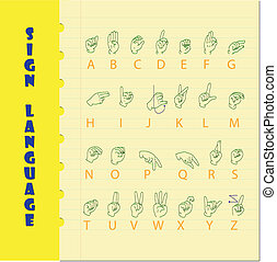 Sign language and the alphabe on yellow paper with blue line...