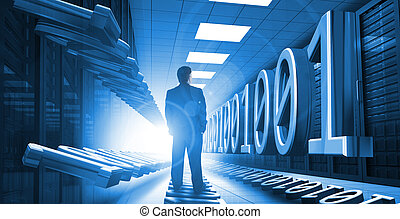 Businessman standing in data center with 3d binary code...