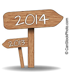 Wooden signs 2014 - Wooden signs indicating the way for 2014