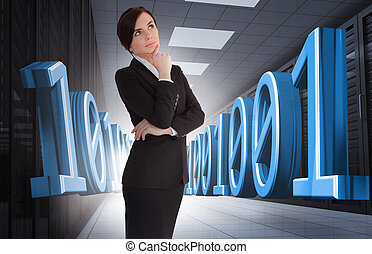 Businesswoman thinking in data center with blue 3d binary...