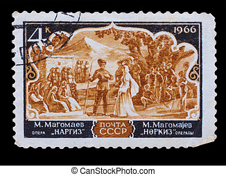 USSR - CIRCA 1966: A stamp printed in USSR, shows opera...