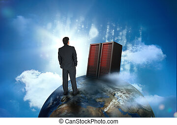 Businessman looking at servers on top of world