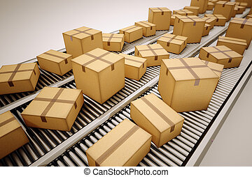 Package sorting. - Packages are being sorted on conveyor...