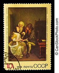 USSR - CIRCA 1974 : stamp printed in USSR, shows Gerard ter...
