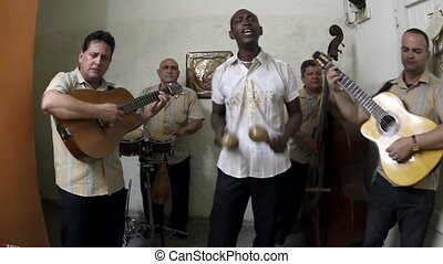 the cuban band eco caribe filmed performing in havana all...