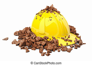 Safety helmet. - Brick smashed on a yellow safety helmet.