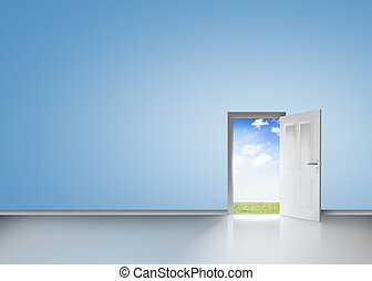 Door opening to reveal blue sky and meadow in a blue room