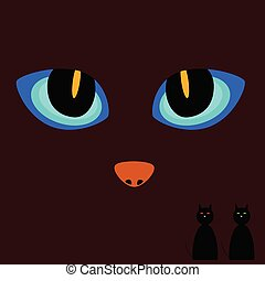 cat eye on a dark background vector illustration