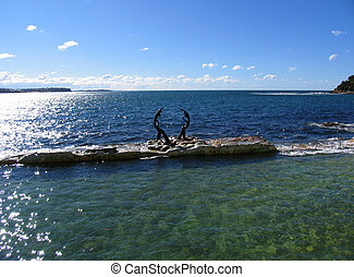 Tidal Pool in Manly - Tidal pool with sculpture in Manly,...