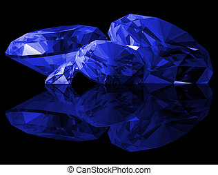 3d Sapphire Gems Isolated - A 3d illustration of Sapphire...