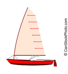 Sailboat - Vintage sailboat on a white background