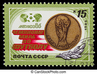 USSR - CIRCA 1986: A post stamp printed USSR, World Cup in...