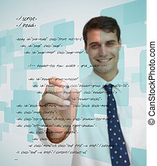 Smiling businessman writing sql language on white background