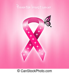 prevention breast cancer with pink ribbon
