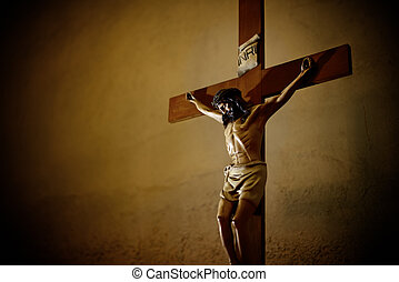 Catholic church and Jesus Christ on crucifix - Catholic...