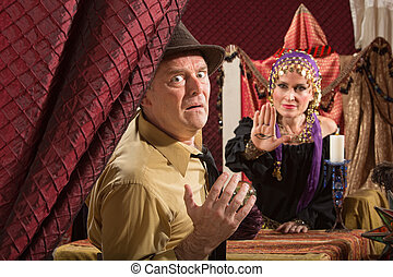 Man Sees Gypsy's Evil Eye - Cursed man and female fortune...