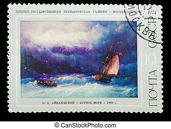USSR - CIRCA 1974: A stamp printed in USSR, IK Aivazovsky...