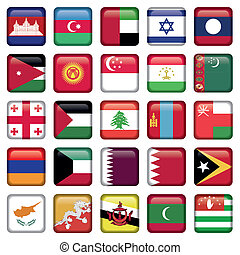 Asia Flags Square Buttons, Zip includes 300 dpi JPG,...