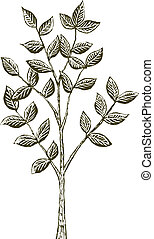 Woodcut Tree Seedling - Woodcut-style illustration of a tree...