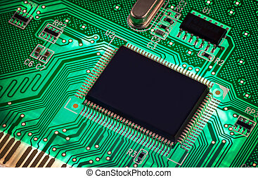 The Green PCB on the lighting. - macro photo of electronic...
