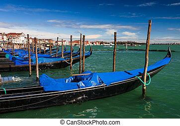 Gondolas docked in Piazza San Marco, Venice