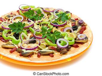 apetitoso, pizza, Primer plano, blanco, Plano de fondo