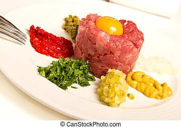 Tartar - Beef tartar with raw egg yolk