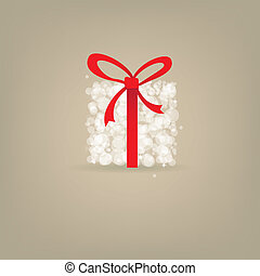 Greeting christmas card with present box