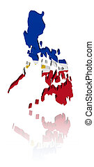Philippines map flag with reflection illustration