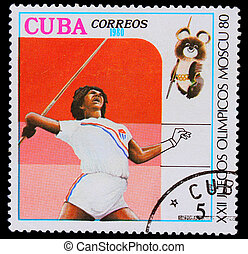 CUBA - CIRCA 1980: A stamp printed in CUBA, devoted to Olympic Games in Moscow (1980), javelin throwing, girl dark skin throws a spear, circa 1980