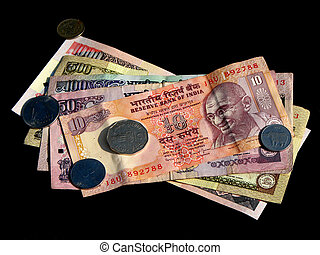Indian Money - Indian currency on black background