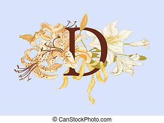 Monogram D with lilies - a soft colored lily bouquet tied...