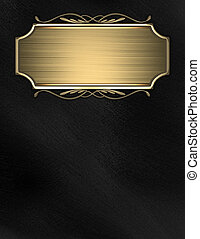 Black background with gold nameplate for writing