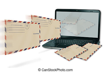 computer receive incoming mail made in 3d software