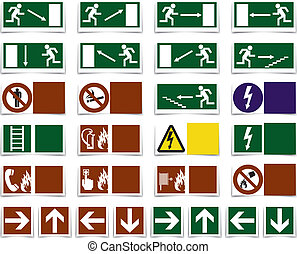 Varning danger symbols, sign - Danger, varning, exit...