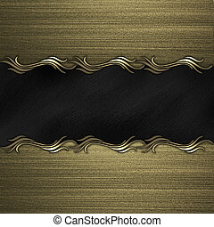Gold background with black nameplate