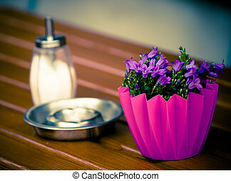 table decoration - purple floral table decoration