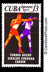 CUBA - CIRCA 1972: A Stamp printed by CUBA, shows Giraldo...