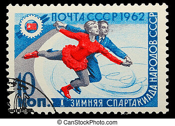 USSR - CIRCA 1962: A stamp printed in USSR, figure skating,...